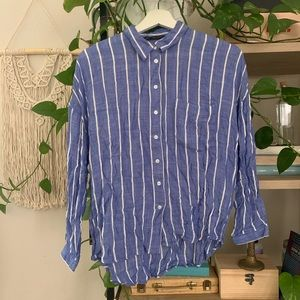 Zara Blue shirt with white embroidered stripes